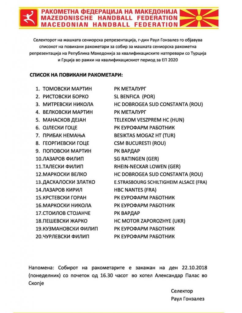 список македонија еп 2020 квалификации